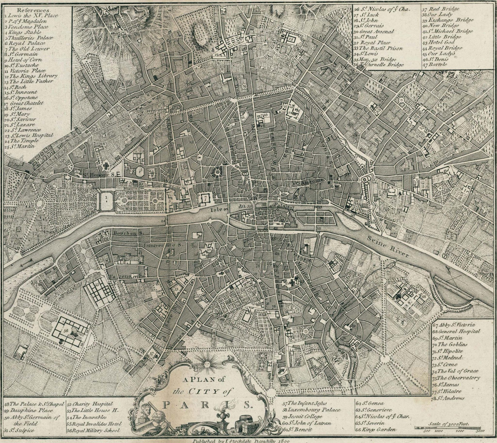 Old Map of Paris 1800