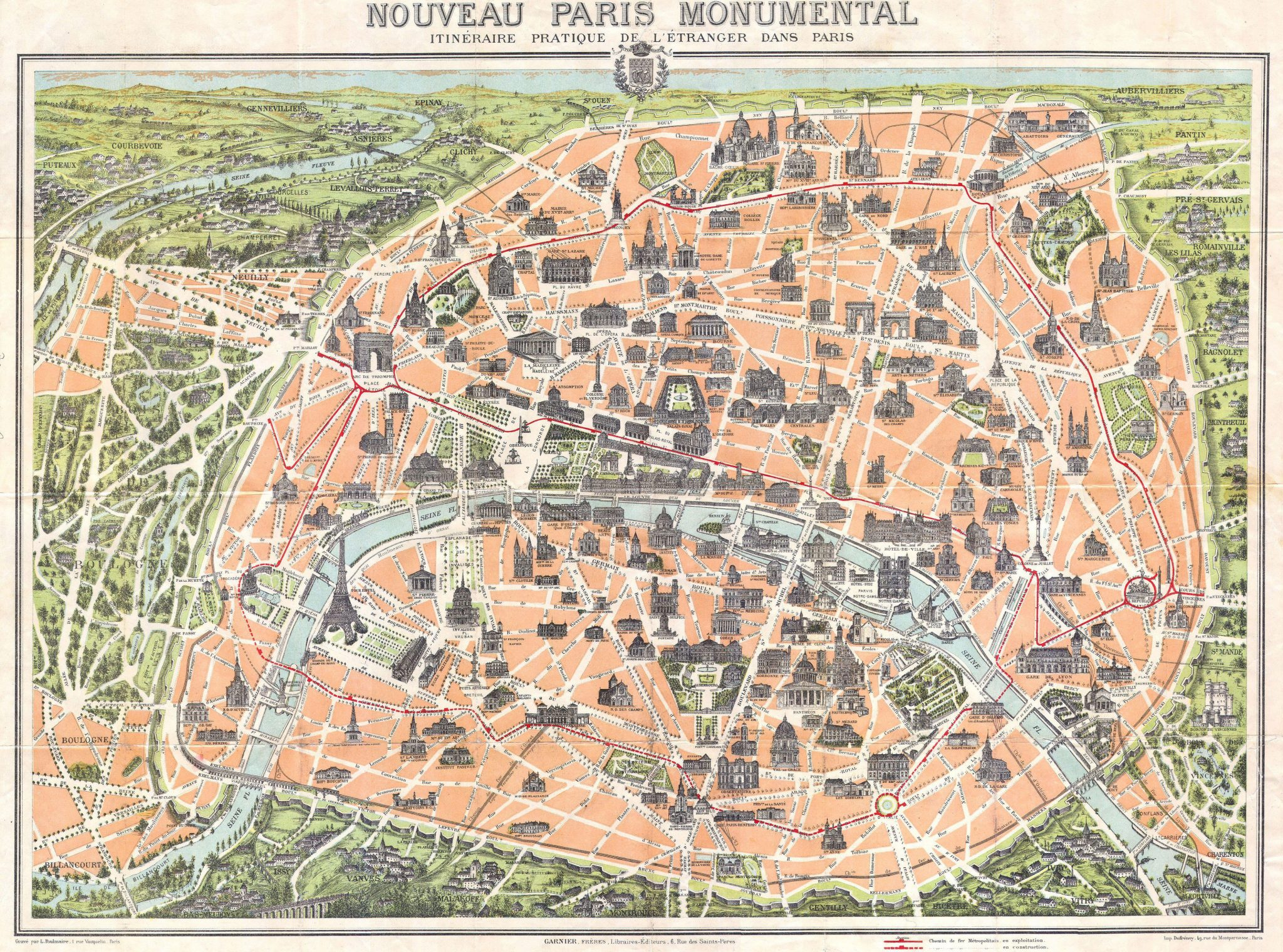 Old Map of Paris 1900