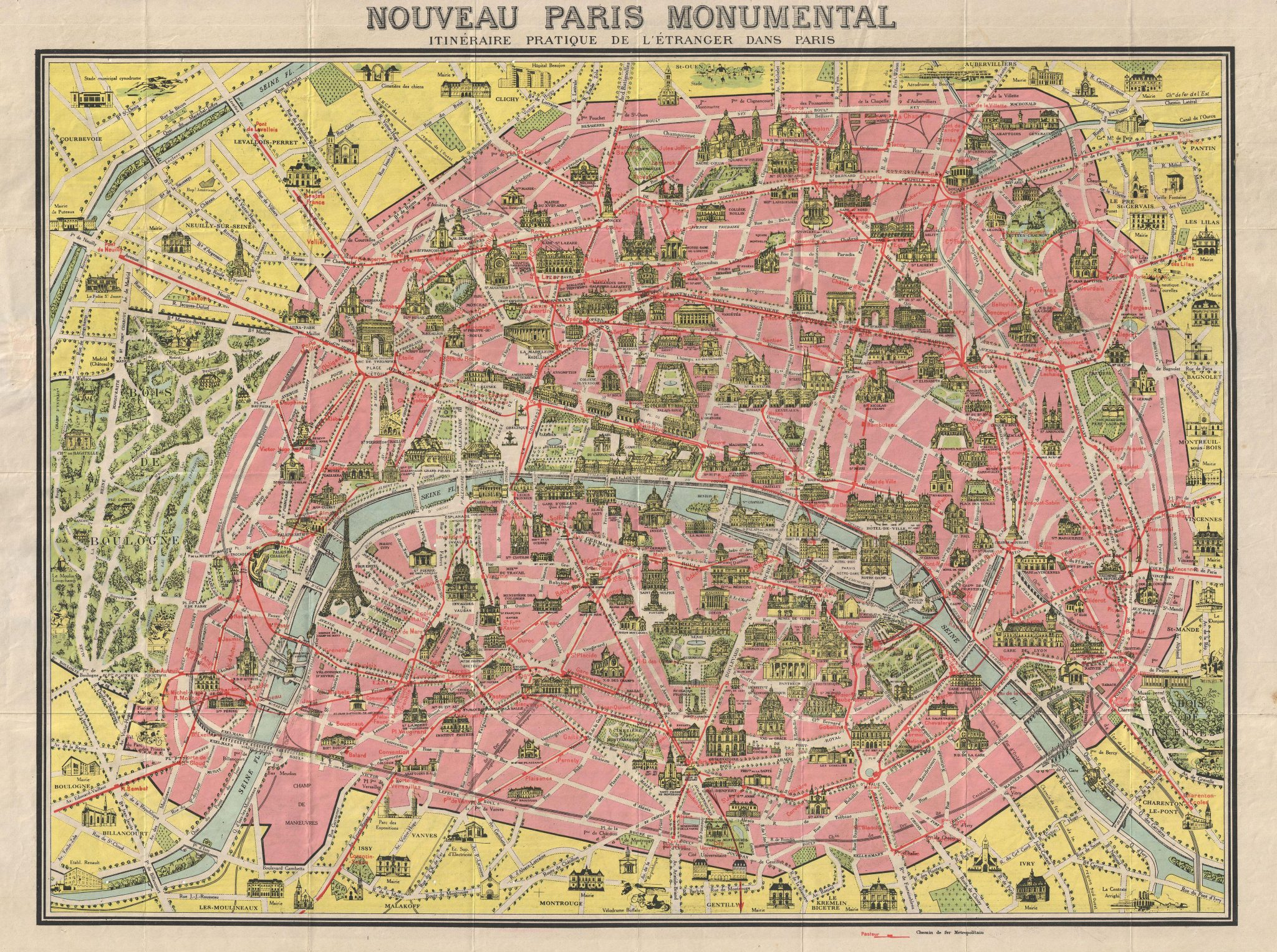 Old Map of Paris 1920
