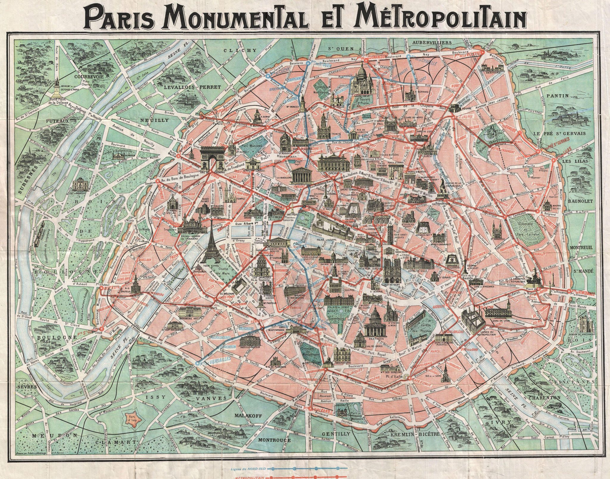 Old Map Of Paris - What to see in paris map